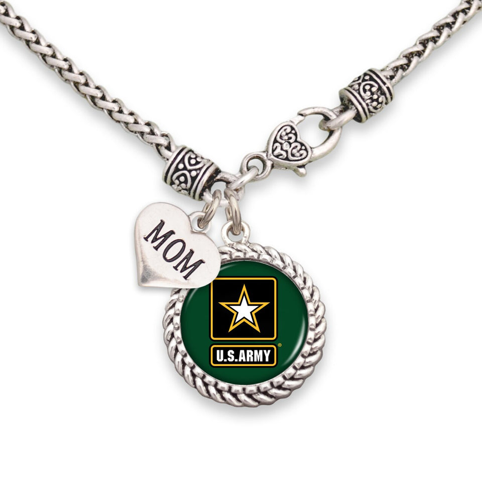 U.S. Army Accent Charm Braided Necklace