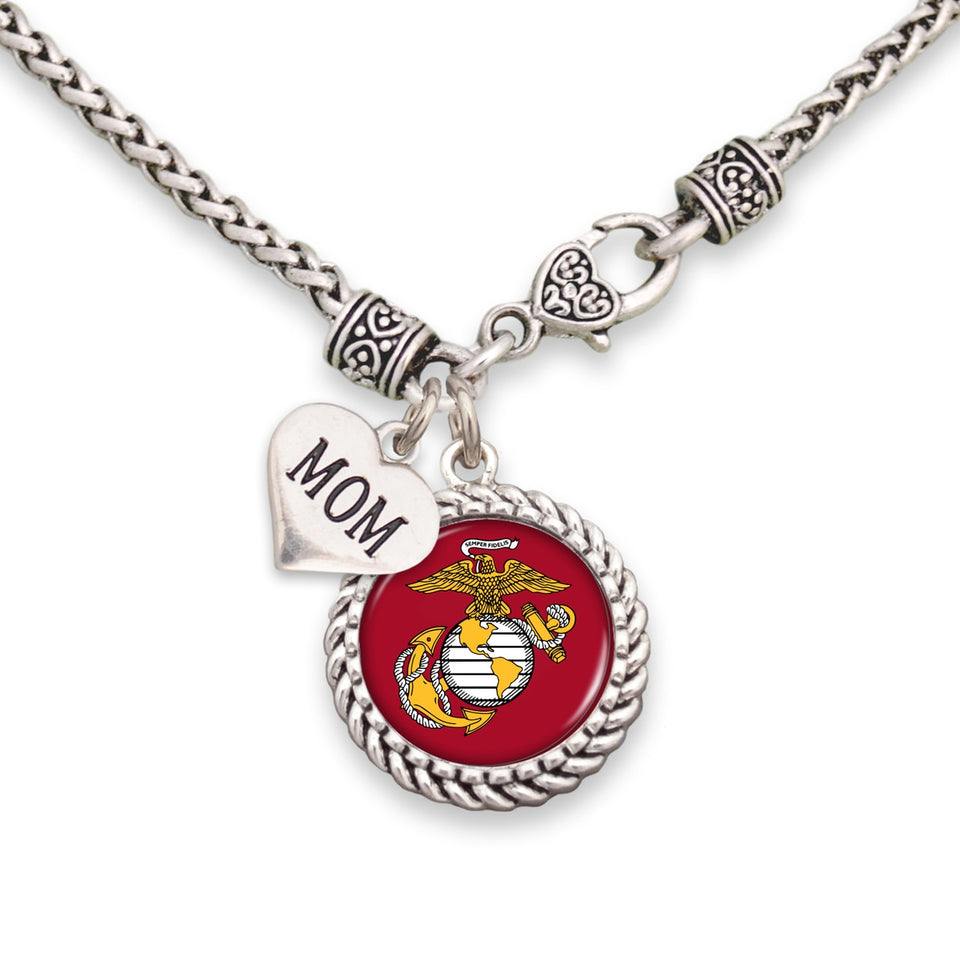 U.S. Marines Choose Your Family Relationship Accent Charm Braided Necklace for Mom