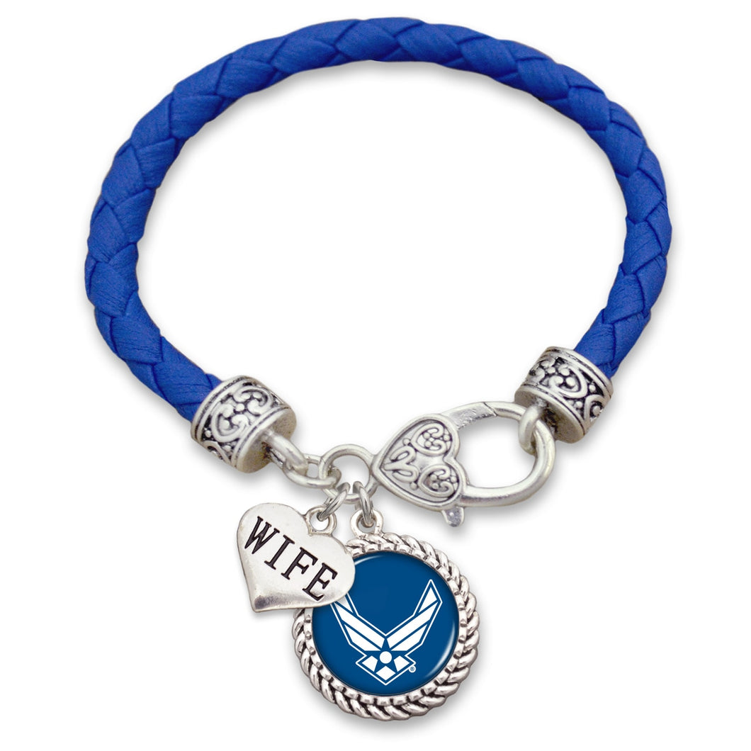 U.S. Air Force Choose Your Family Relationship Accent Heart Leather Bracelet for Wife