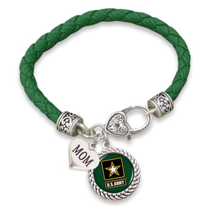 U.S. Army Choose Your Family Relationship Accent Heart Leather Bracelet