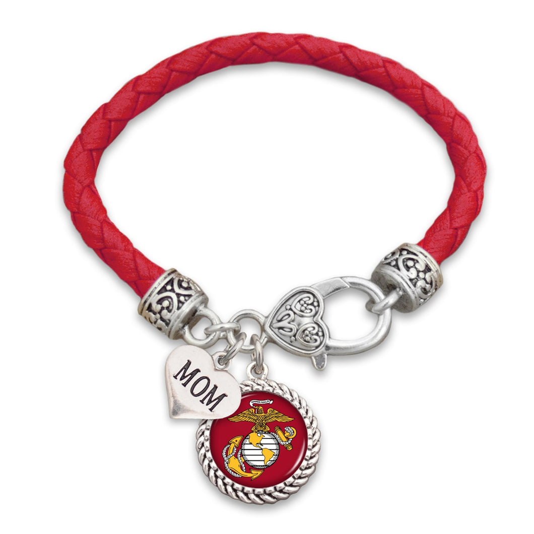 U.S. Marines Choose Your Family Relationship Accent Heart Leather Bracelet for Mom