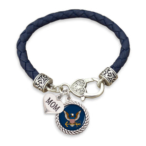 U.S. Navy Choose Your Family Relationship Accent Heart Leather Bracelet for Mom