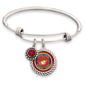 U.S. Marines Wire Bracelet with Red Crystal Accent Charm