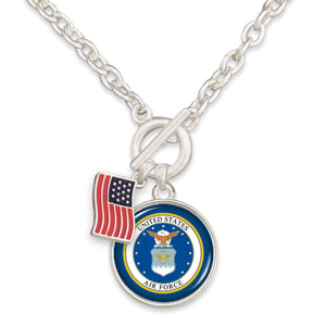 U.S. Air Force American Flag Accent Charm Toggle Necklace