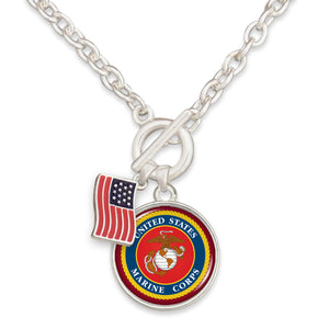 U.S. Marines American Flag Accent Charm Toggle Necklace