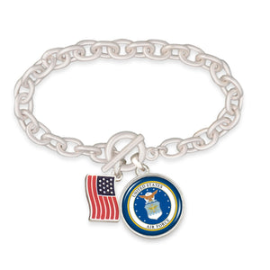 U.S. Air Force American Flag Accent Charm Toggle Bracelet