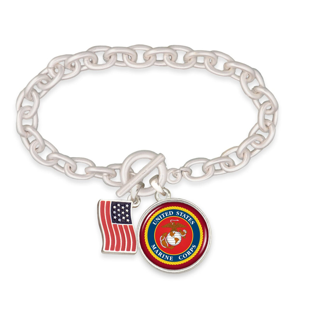 U.S. Marines American Flag Accent Charm Toggle Bracelet