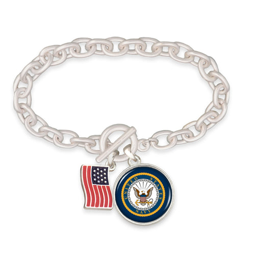 U.S. Navy American Flag Accent Charm Toggle Bracelet