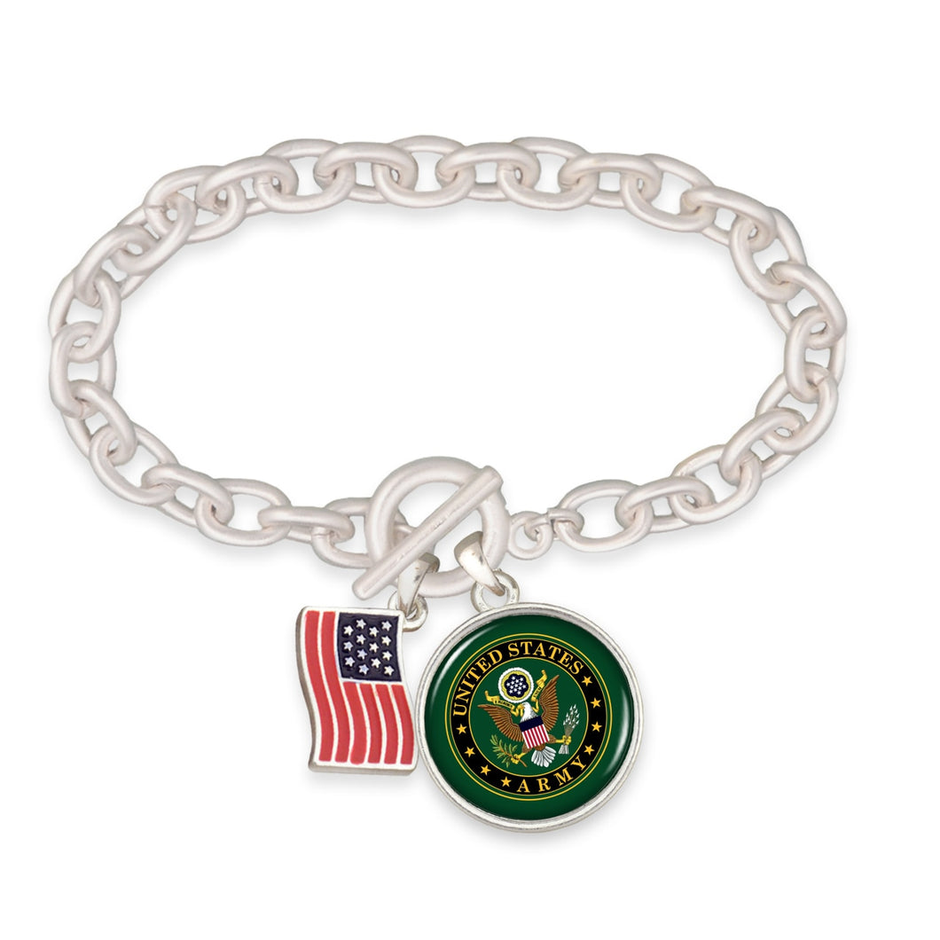 U.S. Army American Flag Accent Charm Toggle Bracelet