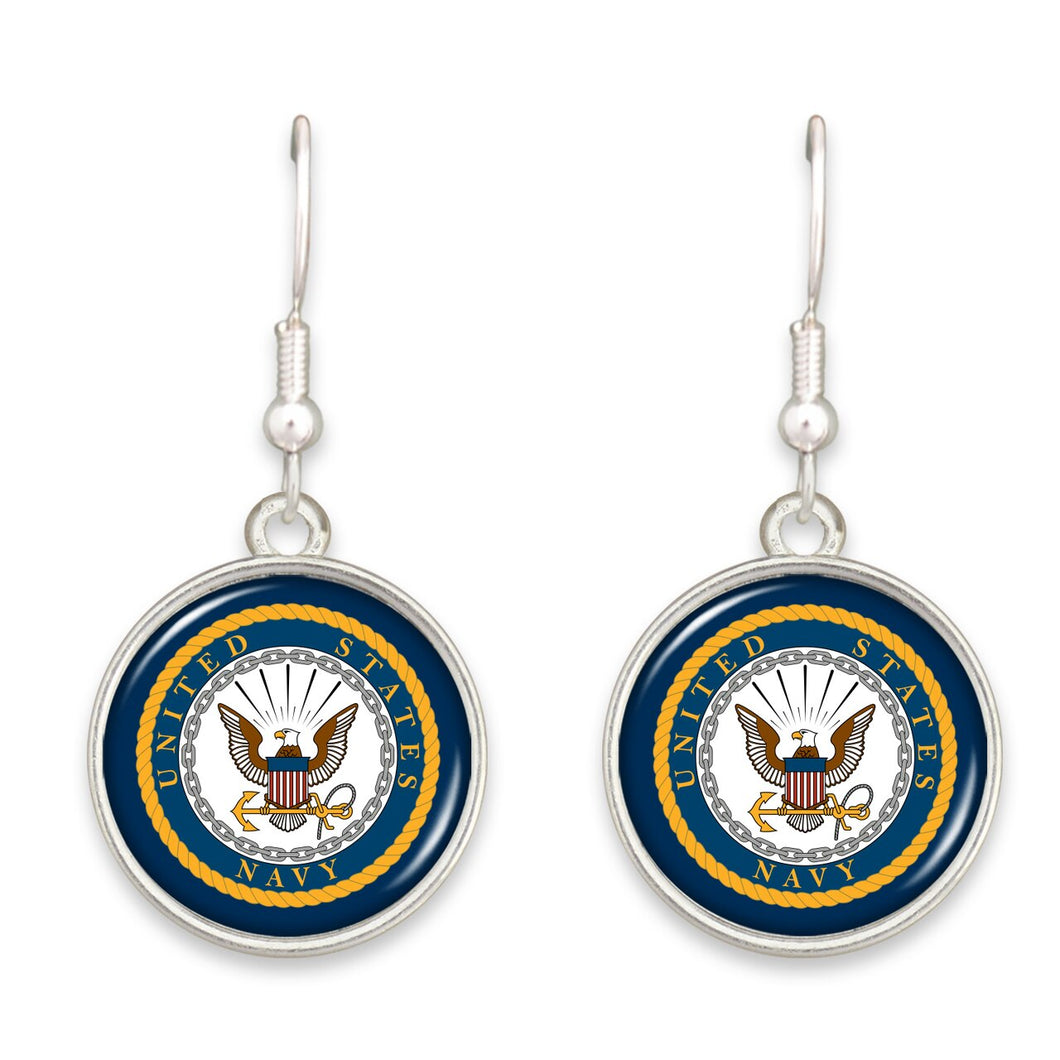 U.S. Navy Seal Round Charm Earrings
