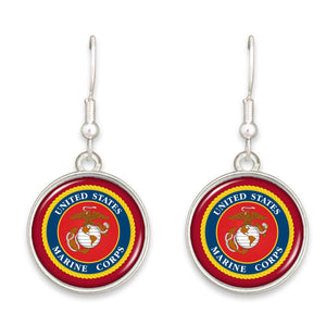 U.S. Marines Seal Round Charm Earrings