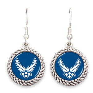 U.S. Air Force Logo Rope Edge Charm Fish Hook Earrings