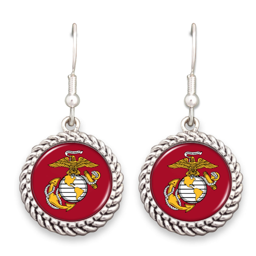U.S. Marines Logo Rope Edge Charm Earrings