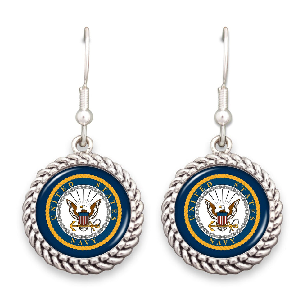 U.S. Navy Seal Rope Edge Charm Earrings