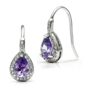 Rhodium Brass Amethyst AAA Grade CZ Wire Hook Earrings