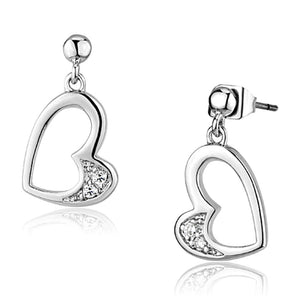 Rhodium Brass Clear Crystal Heart-Shape Drop Earring