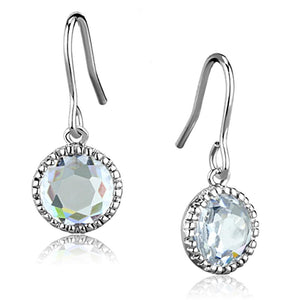 Rhodium Brass Clear AAA Grade CZ Round Charm Drop Earring