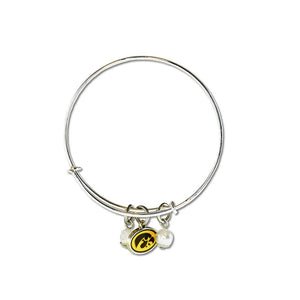 Iowa Hawkeyes Silver Bangle Bracelet