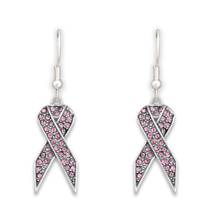 Pink Ribbon Fish Hook Crystal Earrings