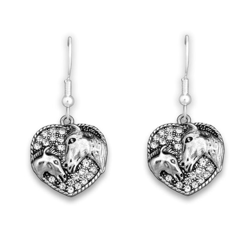 Crystal Horse & Foal Heart Earrings Western Jewelry