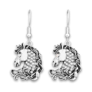 Crystal Horse Head Western Earrings Jewelry