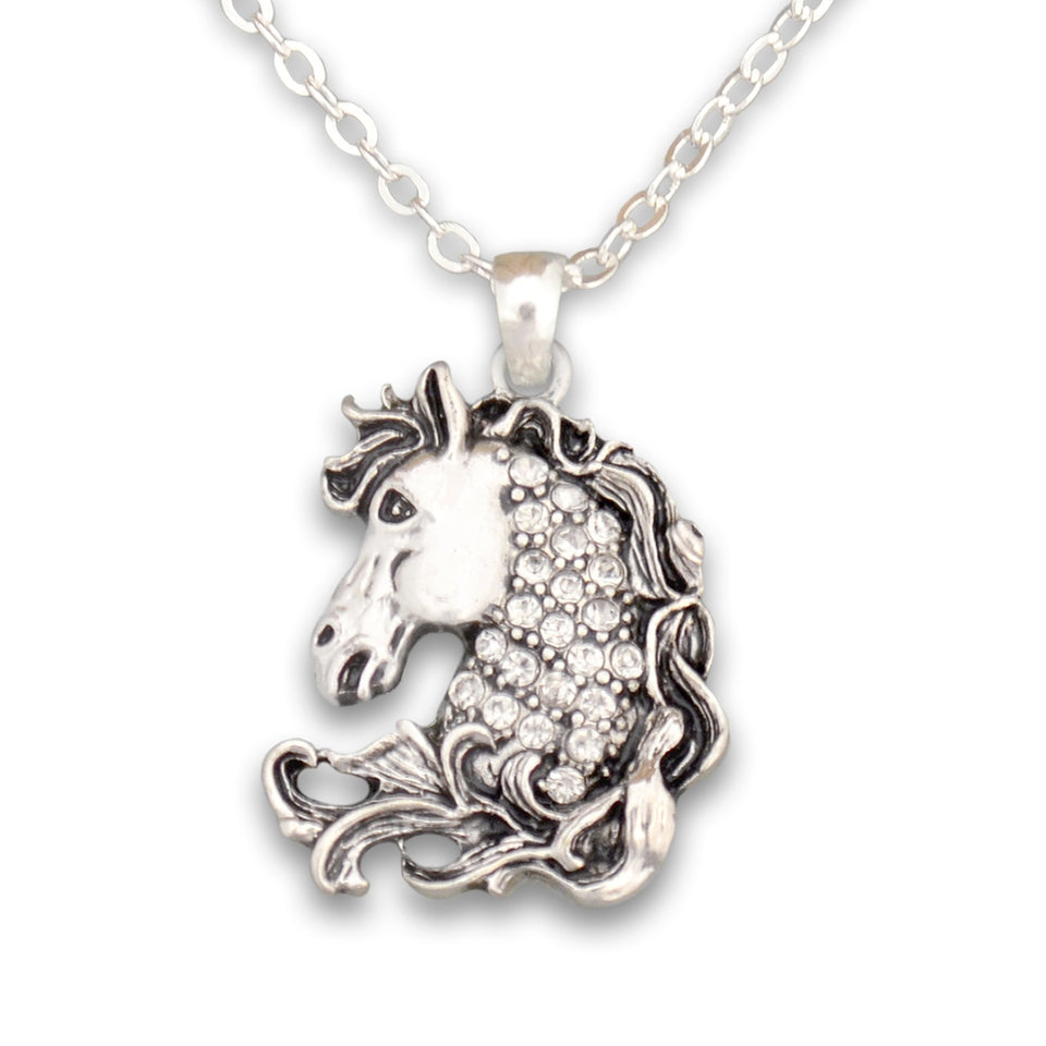 Crystal Horse Head Western Necklace Jewelry