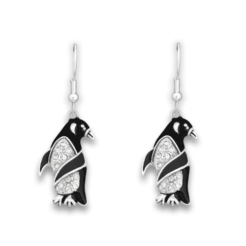 Penguin Crystal Charm Earrings