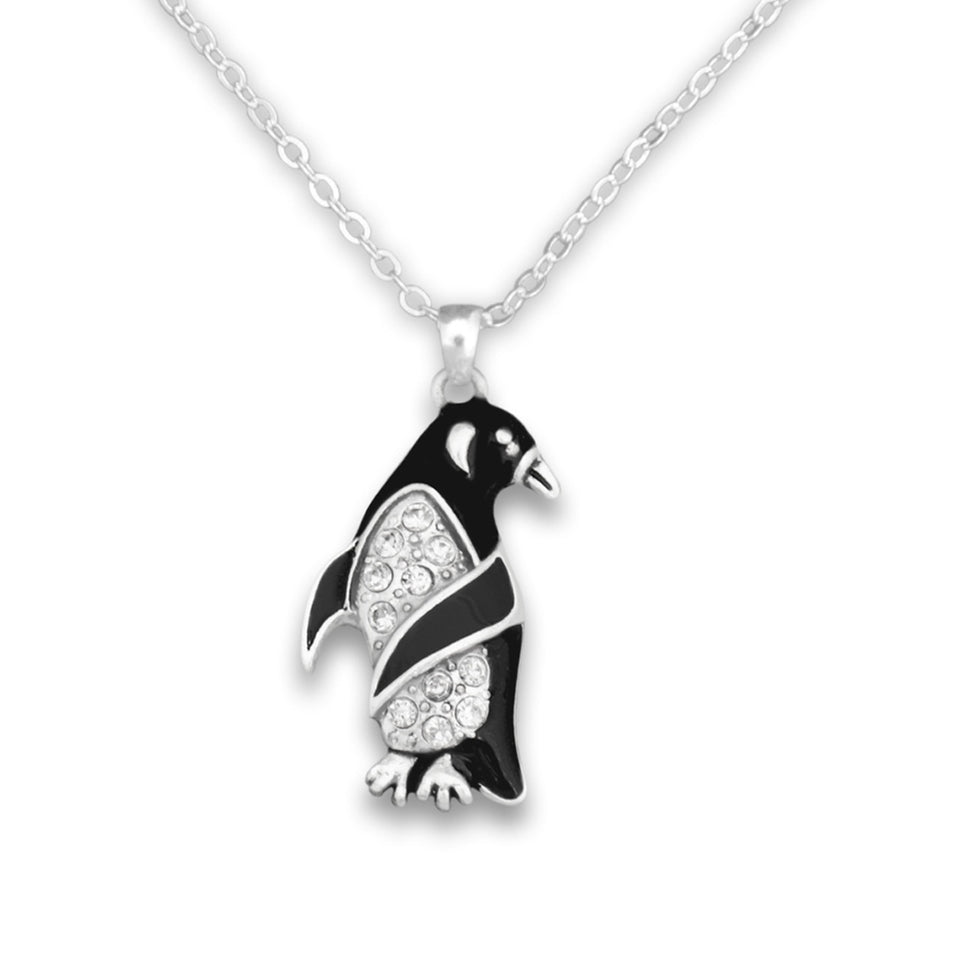 Penguin Crystal Charm Necklace
