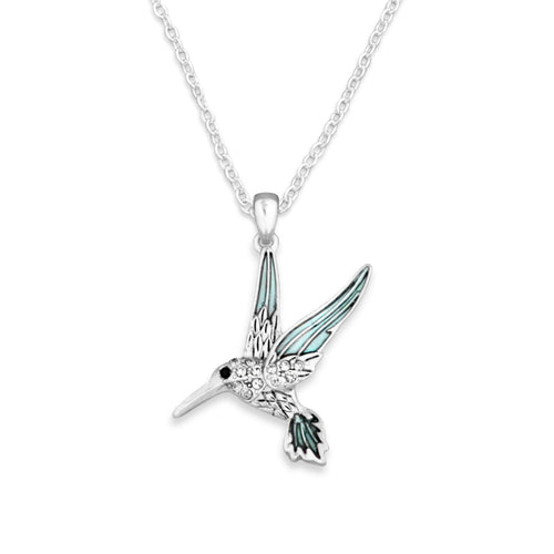 Hummingbird Crystal Charm Necklace
