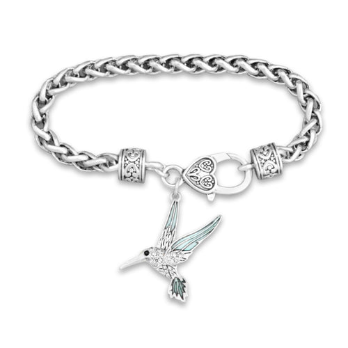 Hummingbird Crystal Charm Braided Bracelet