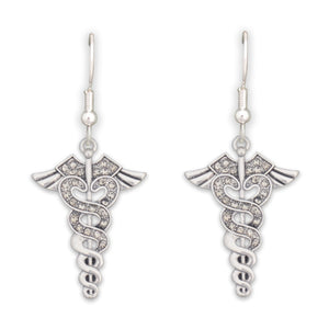 Crystal Caduceus Medical Earrings