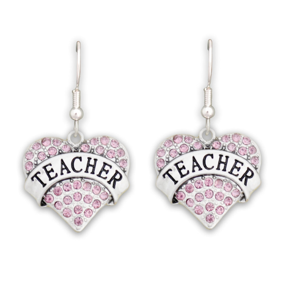 Crystal Teacher Heart Earrings