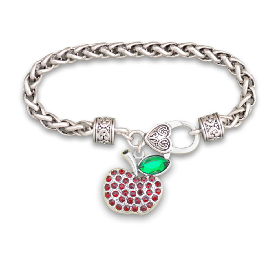 Crystal Teacher Apple Bracelet