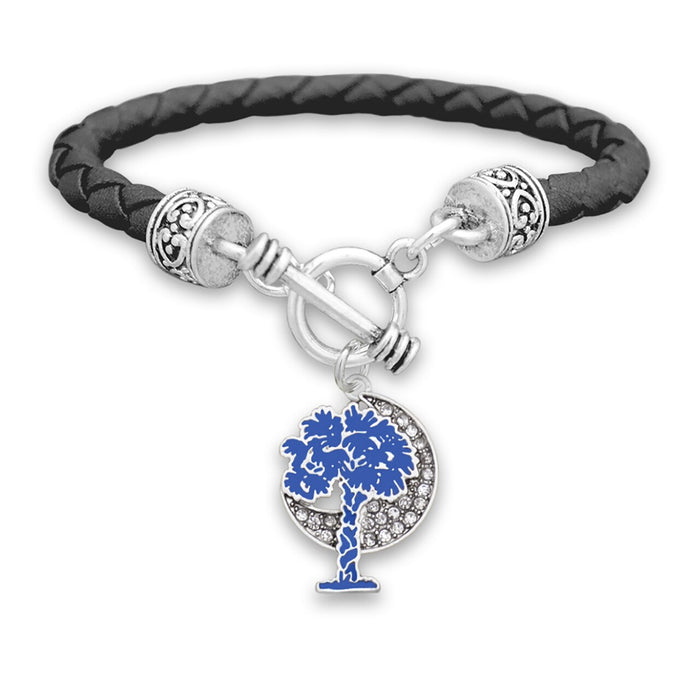 South Carolina State Pride ''Palmetto Moon Charm Leather'' Bracelet