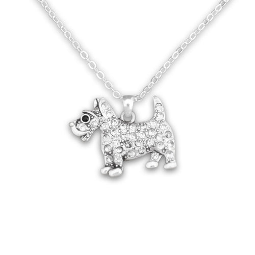 Pet Lover- Crystal Spotted Terrier Necklace
