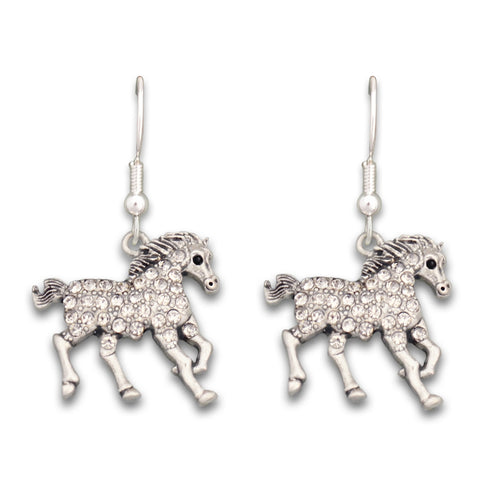 Crystal Running Horse Western Earrings Jewelry