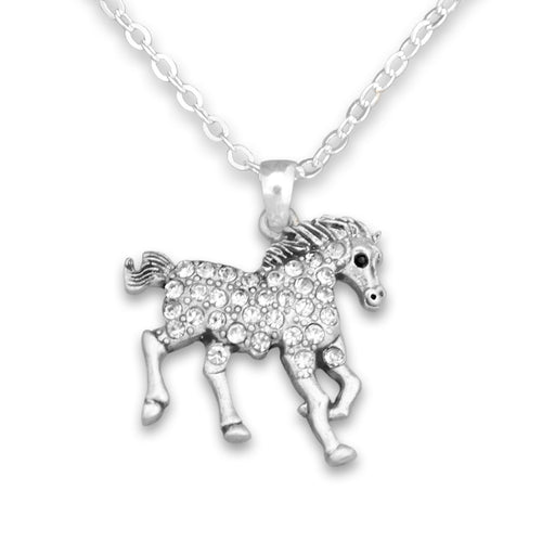 Crystal Running Horse Western Necklace Jewelry