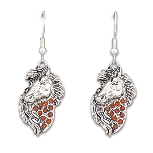 Crystal Brown Horse Western Earrings Jewelry