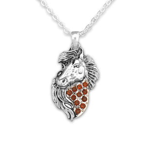 Crystal Brown Horse Western Necklace Jewelry