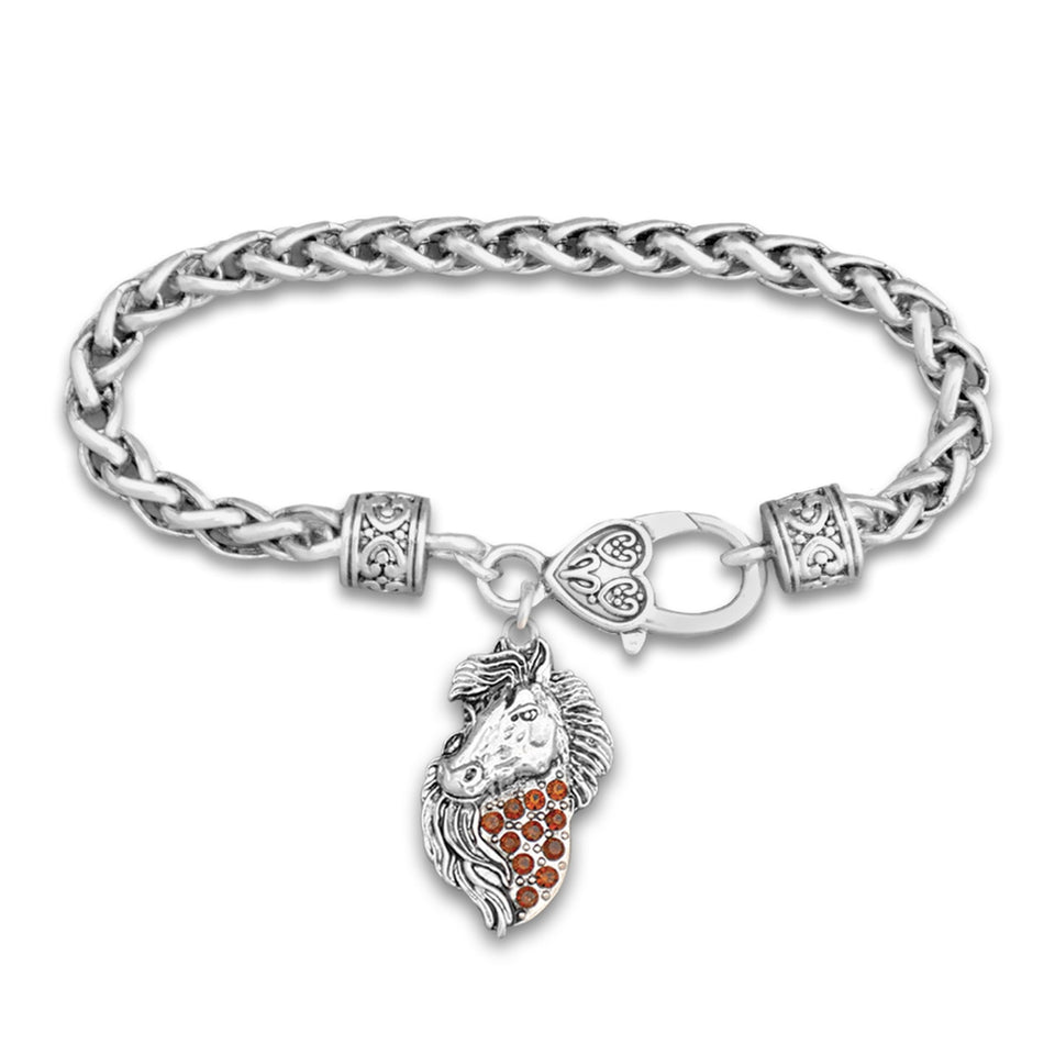 Country Girl Western Horse Braided Crystal Charm Bracelet
