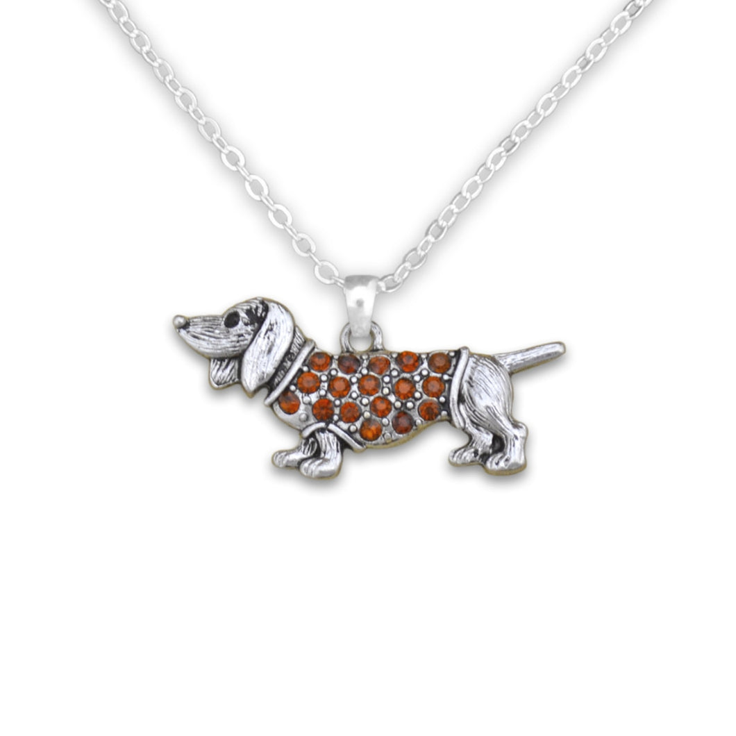 Pet Lover- Crystal Dachshund Necklace
