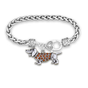 Pet Lover- Crystal Dachshund Bracelet