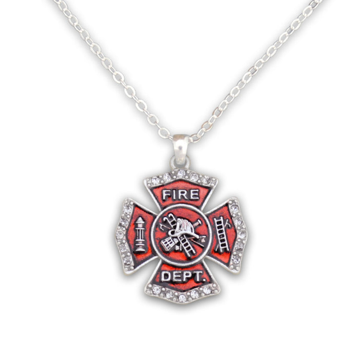 Crystal Firefighter Badge Necklace