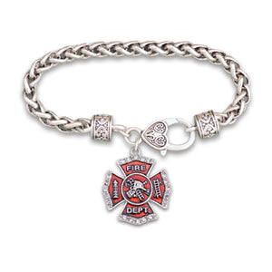 Crystal Firefighter Badge Bracelet