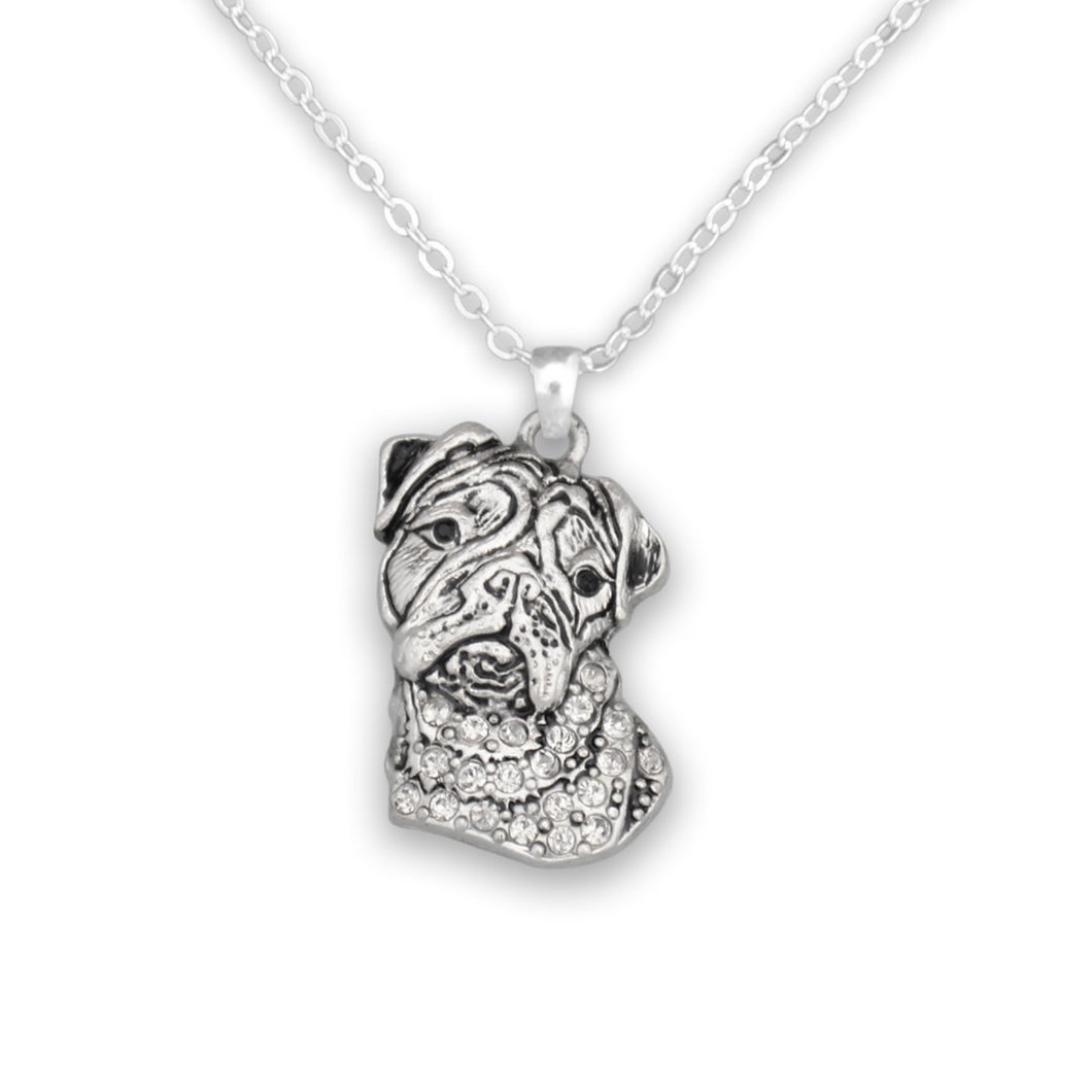 Pet Lover- Crystal Bulldog Necklace