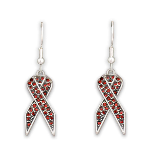 Red Ribbon Fish Hook Crystal Earrings