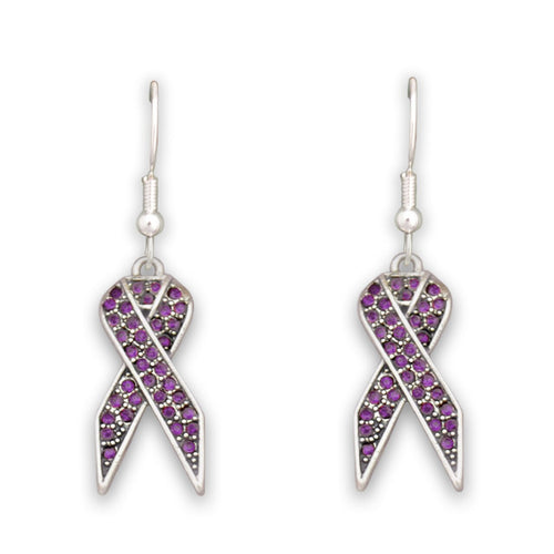 Purple Ribbon Fish Hook Crystal Earrings