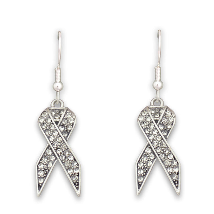 Clear Ribbon Fish Hook Crystal Earrings