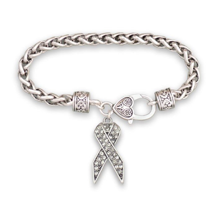Clear Ribbon Braided Clasp Crystal Bracelet