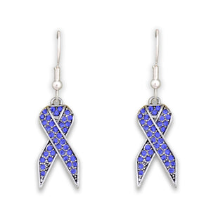 Blue Ribbon Charm Fish Hook Crystal Earrings